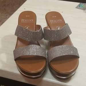 Italian Shoemakers Wedge Sandals Bronze